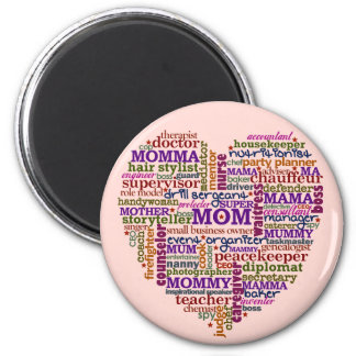 Cute Mom Mother's Day Word Art Heart 6 Cm Round Magnet