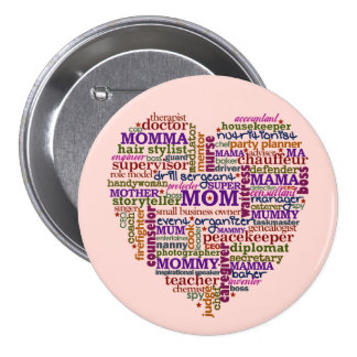 Cute Mom Mother's Day Word Art Heart 7.5 Cm Round Badge