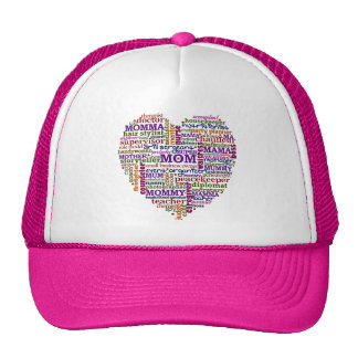 Cute Mom Mother's Day Word Art Heart Trucker Hats