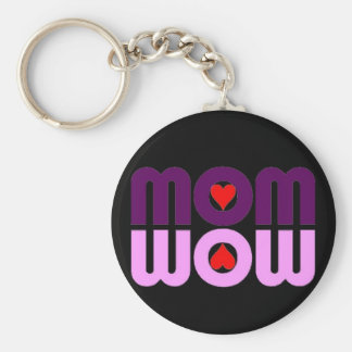 Cute Mom reflection with hearts Basic Round Button Key Ring