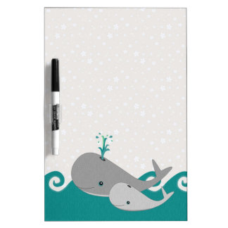 Cute Moma and Baby Whale on the Waves Dry Erase Whiteboards