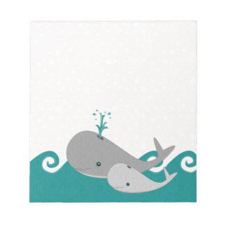 Cute Moma and Baby Whale on the Waves Notepads