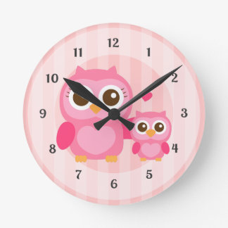 Cute Mommy and Baby Pink Owl, Girls Bedroom Round Clock