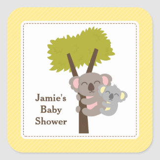 Cute Mommy Koala Bear Baby Shower Party Square Sticker