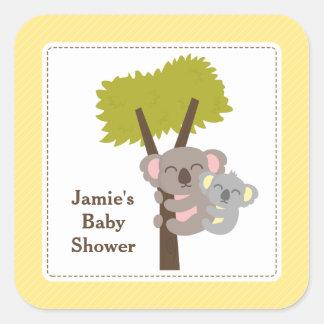 Cute Mommy Koala Bear Baby Shower Party Square Sticker