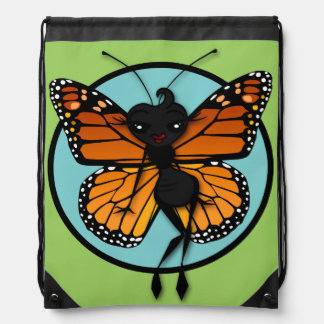 CUTE MONARCH BUTTERFLY LADY DRAWSTRING BACKPACK