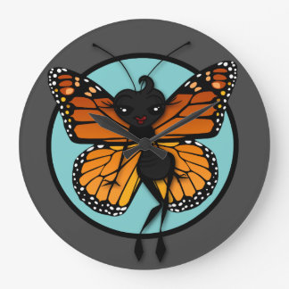 CUTE MONARCH BUTTERFLY LADY LARGE ROUND WALL CLOCK