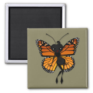 CUTE MONARCH BUTTERFLY LADY SQUARE MAGNET