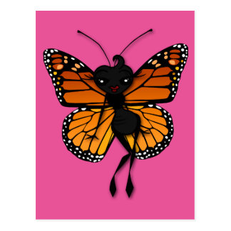 CUTE MONARCH BUTTERFLY LADY VERTICAL POSTCARD