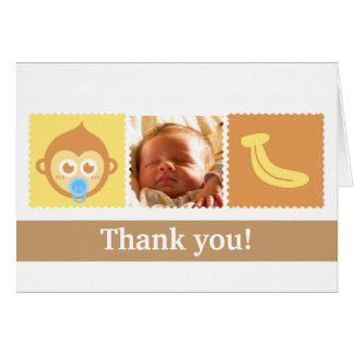 Cute Monkey and Banana Baby Shower Card