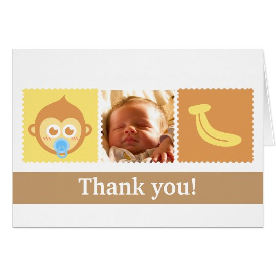 Cute Monkey and Banana Baby Shower Card