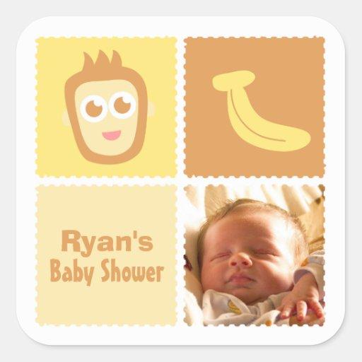 Baby Shower Decorations Uk Asda ~ Cute monkey and banana baby shower decorations square sticker zazzle