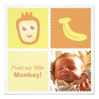 "Cute Monkey and Banana Baby Shower 5.25"" Square Invitation Card"
