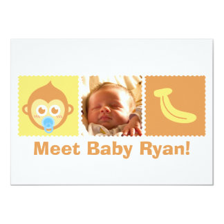 "Cute Monkey and Banana Baby Shower 4.5"" X 6.25"" Invitation Card"