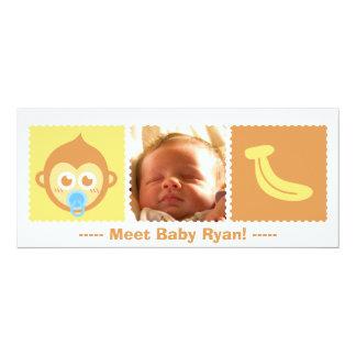 "Cute Monkey and Banana Baby Shower 4"" X 9.25"" Invitation Card"