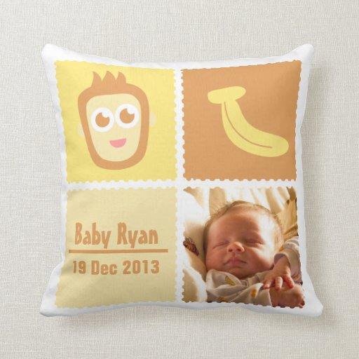 Cute Monkey and Banana for Newborns Pillow