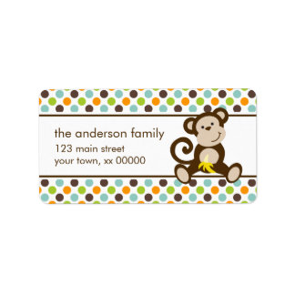 Cute Monkey and Polka Dots Label