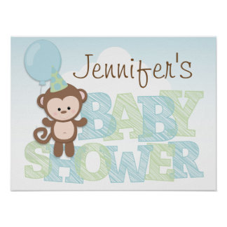 Cute Monkey; Blue & Green Baby Shower Poster