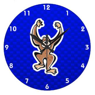 Cute Monkey; Blue Large Clock