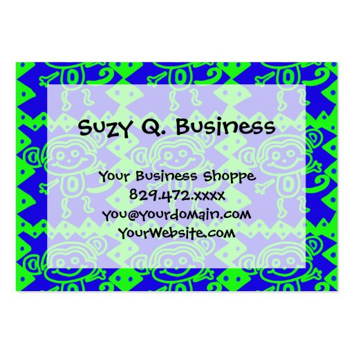Cute Monkey Blue Lime Green Animal Pattern Business Cards