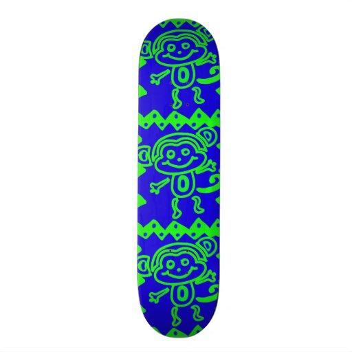 Cute Monkey Blue Lime Green Animal Pattern Custom Skateboard