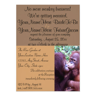 Cute Monkey Business We're Getting Married 14 Cm X 19 Cm Invitation Card