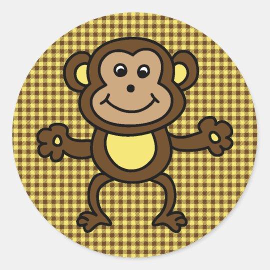 cute monkey card classic round sticker
