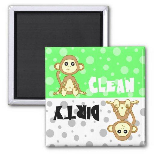 Cute Monkey Clean / Dirty Dishwasher Magnet
