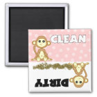 Cute Monkey Clean / Dirty Pink Dishwasher Magnet