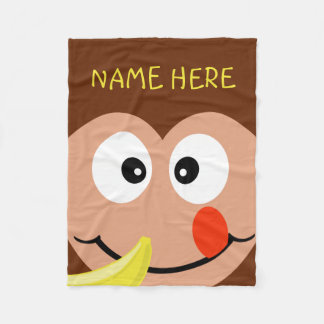 Cute Monkey Custom Name Kids Zoo Animals Fleece Blanket