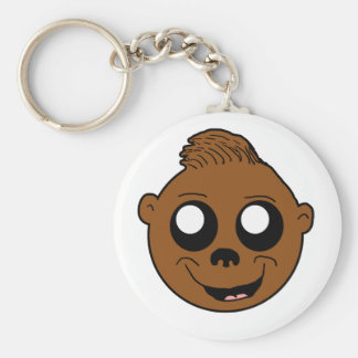 Cute Monkey Face Cartoon Basic Round Button Key Ring