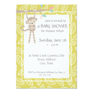 Cute Monkey Gender Neutral Baby Shower Invitations