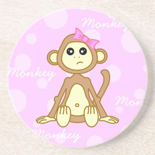 Cute Monkey Girl Cartoon Coaster