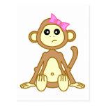 Cute Monkey Girl Cartoon Post Cards