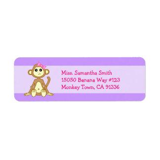 Cute Monkey Girl Cartoon Return Address Labels