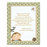 Cute Monkey Green/Brown Thank you cards 11 Cm X 14 Cm Invitation Card