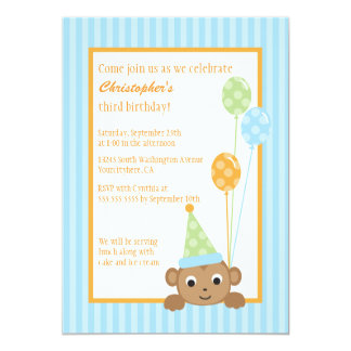 Cute monkey holding balloons birthday party invite