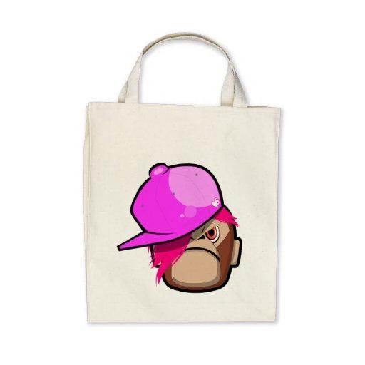 Cute monkey i pink apple emo style bay bag