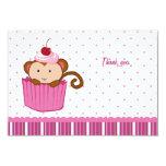 Cute monkey in a cupcake flat thank you card 9 cm x 13 cm invitation card