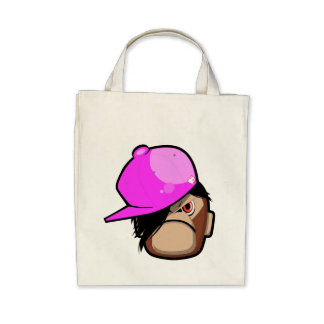 Cute monkey in pink apple emo style bag