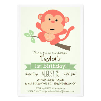 Cute Monkey, Jungle Animal Kid's Birthday Party Card