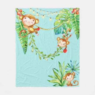 Cute Monkey Kids in Tropical Christmas Jungle Fleece Blanket