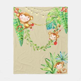 Cute Monkey Kids Tropical Christmas Jungle Khaki Fleece Blanket