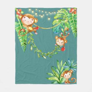 Cute Monkey Kids Tropical Christmas Jungle Teal Fleece Blanket