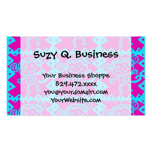 Cute Monkey Magenta Teal Animal Pattern Kids Gifts Business Card Templates
