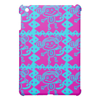 Cute Monkey Magenta Teal Animal Pattern Kids Gifts iPad Mini Cases