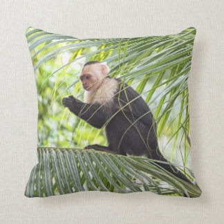 Cute Monkey on a Palm Tree Throw Pillow