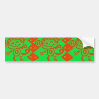 Cute Monkey Orange Green Animal Pattern Bumper Sticker