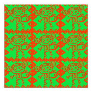 Cute Monkey Orange Green Animal Pattern Personalized Invites