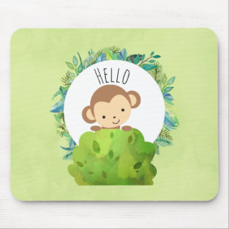Cute Monkey Peeking Out from Behind a Bush Hello Mouse Mat
